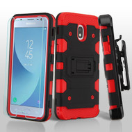 Military Grade Certified Storm Tank Hybrid Case + Holster + Tempered Glass for Samsung Galaxy J3 (2018) - Black Red