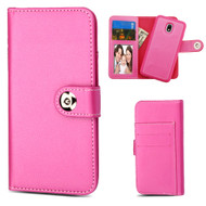 2-IN-1 Premium Leather Wallet with Removable Magnetic Case for Samsung Galaxy J3 (2018) - Hot Pink