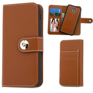 2-IN-1 Premium Leather Wallet with Removable Magnetic Case for Samsung Galaxy J3 (2018) - Brown