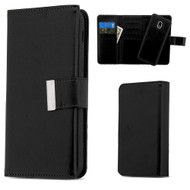 2-IN-1 Premium Tri-Fold Leather Wallet with Removable Magnetic Case for Samsung Galaxy J3 (2018) - Black