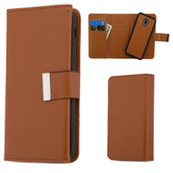 2-IN-1 Premium Tri-Fold Leather Wallet with Removable Magnetic Case for Samsung Galaxy J3 (2018) - Brown