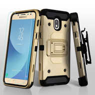 3-IN-1 Kinetic Hybrid Armor Case + Holster + Tempered Glass Screen Protector for Samsung Galaxy J7 (2018) - Gold