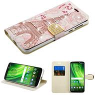 Luxury Bling Portfolio Leather Wallet Case for Motorola Moto G6 Play / G6 Forge - Eiffel Tower