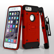 3-IN-1 Kinetic Hybrid Case with Holster and Tempered Glass Screen Protector for iPhone 6 Plus / 6S Plus - Red