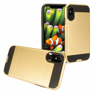 Brushed Coated Hybrid Armor Case for iPhone XS Max - Gold