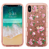 Military Grade Certified TUFF Diamond Hybrid Armor Case for iPhone XS Max - Pink Roses Rose Gold