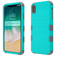 Military Grade Certified Brushed TUFF Hybrid Case for iPhone XS Max - Teal Green