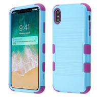 Military Grade Certified Brushed TUFF Hybrid Case for iPhone XS Max - Baby Blue Electric Purple