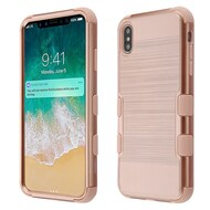 Military Grade Certified Brushed TUFF Hybrid Case for iPhone XS Max - Rose Gold
