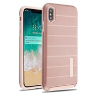 Haptic Dots Texture Anti-Slip Hybrid Armor Case for iPhone XS Max - Rose Gold