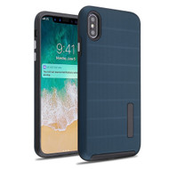 Haptic Dots Texture Anti-Slip Hybrid Armor Case for iPhone XS Max - Navy Blue
