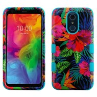 Military Grade Certified TUFF Hybrid Armor Case for LG Q7 Plus - Electric Hibiscus