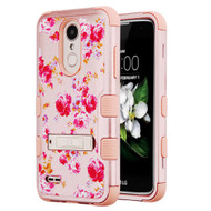 Military Grade Certified TUFF Hybrid Armor Case with Stand for LG Aristo 2 / Fortune 2 / K8 (2018) / Tribute Dynasty / Zone 4 - Vintage Rose Bush Rose Gold