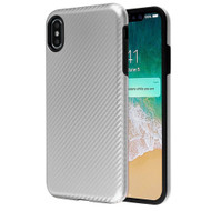 Carbon Fiber Hybrid Case for iPhone XS Max - Silver