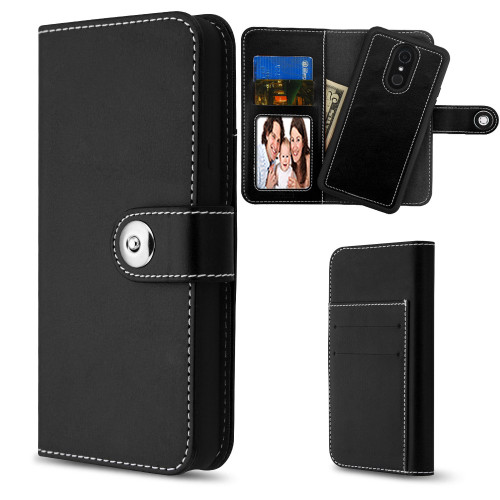 2-IN-1 Premium Leather Wallet with Removable Magnetic Case for LG Stylo 4 - Black