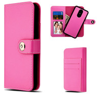 2-IN-1 Premium Leather Wallet with Removable Magnetic Case for LG Stylo 4 - Hot Pink