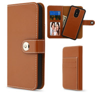 2-IN-1 Premium Leather Wallet with Removable Magnetic Case for LG Stylo 4 - Brown