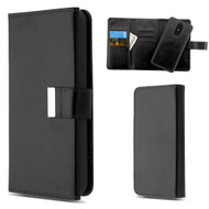 2-IN-1 Premium Tri-Fold Leather Wallet with Removable Magnetic Case for LG Stylo 4 - Black