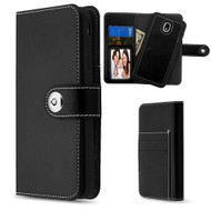 2-IN-1 Premium Leather Wallet with Removable Magnetic Case for Samsung Galaxy J7 (2018) - Black