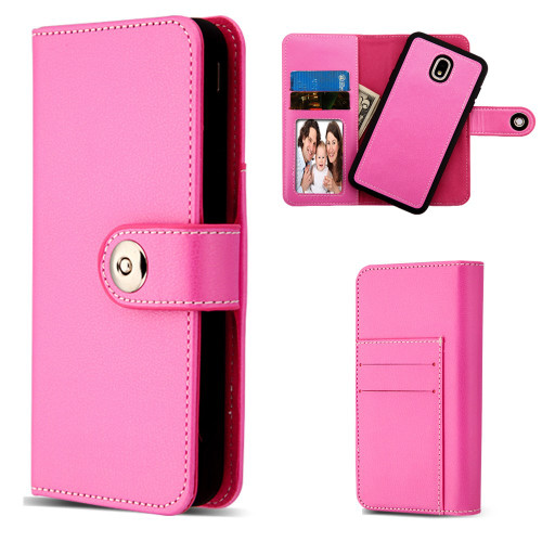 2-IN-1 Premium Leather Wallet with Removable Magnetic Case for Samsung Galaxy J7 (2018) - Hot Pink