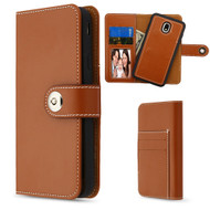 2-IN-1 Premium Leather Wallet with Removable Magnetic Case for Samsung Galaxy J7 (2018) - Brown