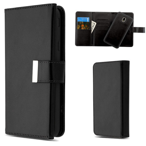 2-IN-1 Premium Tri-Fold Leather Wallet with Removable Magnetic Case for Samsung Galaxy J7 (2018) - Black