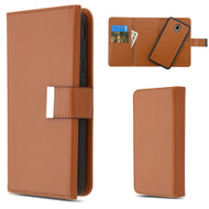 2-IN-1 Premium Tri-Fold Leather Wallet with Removable Magnetic Case for Samsung Galaxy J7 (2018) - Brown