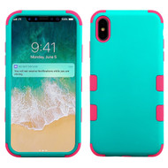 Military Grade Certified TUFF Hybrid Armor Case for iPhone XS Max - Teal Green Electric Pink