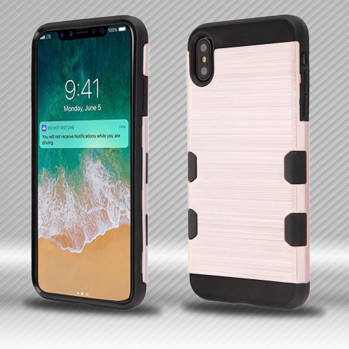 Military Grade Certified TUFF Trooper Dual Layer Hybrid Armor Case for iPhone XS Max - Rose Gold