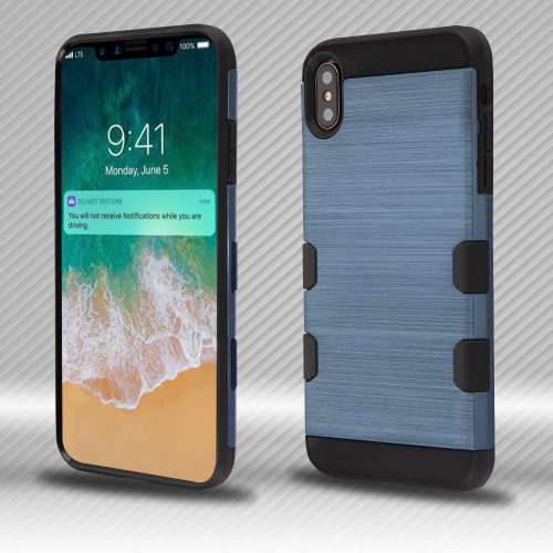 Military Grade Certified TUFF Trooper Dual Layer Hybrid Armor Case for iPhone XS Max - Brushed Slate Blue