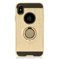 Sports Hybrid Armor Case with Smart Loop Ring Holder for iPhone XS Max - Gold