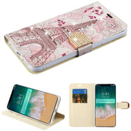 Luxury Bling Portfolio Leather Wallet Case for iPhone XS Max - Eiffel Tower