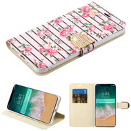 Luxury Bling Portfolio Leather Wallet Case for iPhone XS Max - Pink Fresh Roses