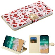 Luxury Bling Portfolio Leather Wallet Case for iPhone XS Max - Heart Cluster