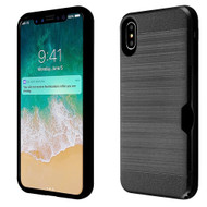ID Card Slot Hybrid Case for iPhone XS Max - Black