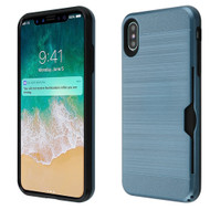 ID Card Slot Hybrid Case for iPhone XS Max - Ink Blue
