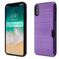 ID Card Slot Hybrid Case for iPhone XS Max - Purple