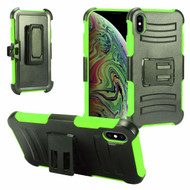 Advanced Armor Hybrid Kickstand Case with Holster and Tempered Glass Screen Protector for iPhone XS Max - Green