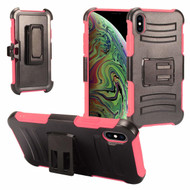 Advanced Armor Hybrid Kickstand Case with Holster and Tempered Glass Screen Protector for iPhone XS Max - Hot Pink