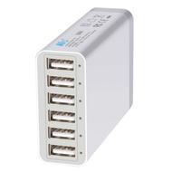 Intelligent 6 Port 60W 12A USB Desktop Charger Charging Station - White