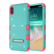 Military Grade Certified TUFF Diamond Hybrid Armor Case with Stand for iPhone XS Max - Teal Green Electric Pink
