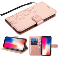 Embossed Butterfly Flower Leather-Style Wallet Stand Case for iPhone XR - Rose Gold