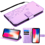 Embossed Butterfly Flower Leather-Style Wallet Stand Case for iPhone XR - Purple