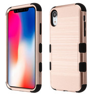 Military Grade Certified Brushed TUFF Hybrid Case for iPhone XR - Rose Gold