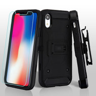 3-IN-1 Kinetic Hybrid Armor Case with Holster and Tempered Glass Screen Protector for iPhone XR - Black