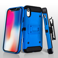 3-IN-1 Kinetic Hybrid Armor Case with Holster and Tempered Glass Screen Protector for iPhone XR - Blue