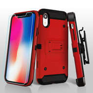3-IN-1 Kinetic Hybrid Armor Case with Holster and Tempered Glass Screen Protector for iPhone XR - Red