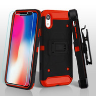 3-IN-1 Kinetic Hybrid Armor Case with Holster and Tempered Glass Screen Protector for iPhone XR - Black Red