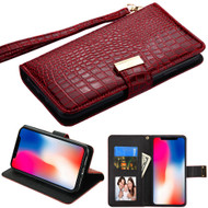 Crocodile Embossed Leather Wallet Case for iPhone XR - Burgundy