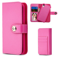2-IN-1 Premium Leather Wallet with Removable Magnetic Case for iPhone XR - Hot Pink
